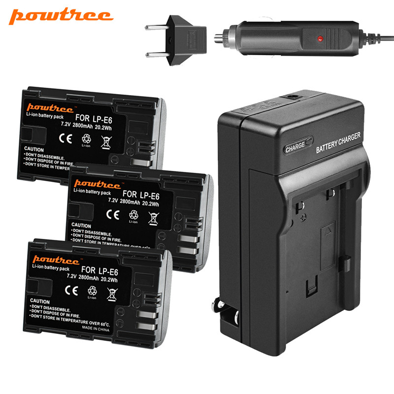 Powtree 7V 2800mAh LP E6 Battery Car Charger For Canon LP E6 6D Mark II 5D 60D 7D 80D DSLR Camera in Digital Batteries from Consumer Electronics