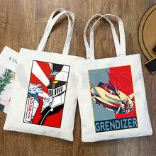 Grandizer japonês anime goldorak moda gráfico dos desenhos animados imprimir sacos de compras meninas moda casual pacakge saco de mão