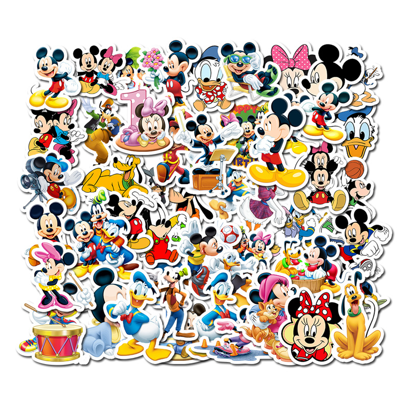 50 PCS Non-repeating Cartoon Mickey Mouse Children's Stickers Pull Bar Box Guitar Personalized Graffiti Stickers