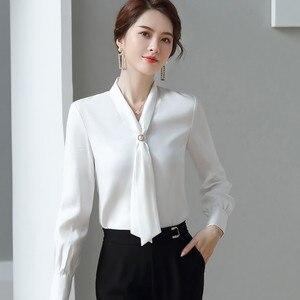 Image 3 - ライトグリーン長袖シャツ女性秋ゆるいカジュアルな弓リボンol高品質ファッションブラウスオフィスレディースワークトップ