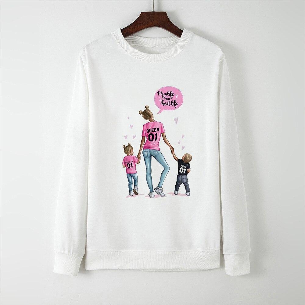 Harajuku Long Sleeve Gothic Cute Super Mom Hoodies Women Mom Life Is The Best Life Fashion Sweatshirt Femme Pullovers Coat