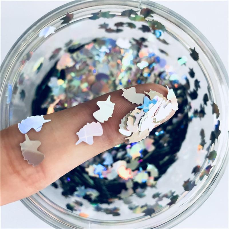 Ультратонкая 3D блестка для ногтей 5*8 мм, лазерная блестка единорога с блестками для домашних животных, экологически чистые свободные пайетк...
