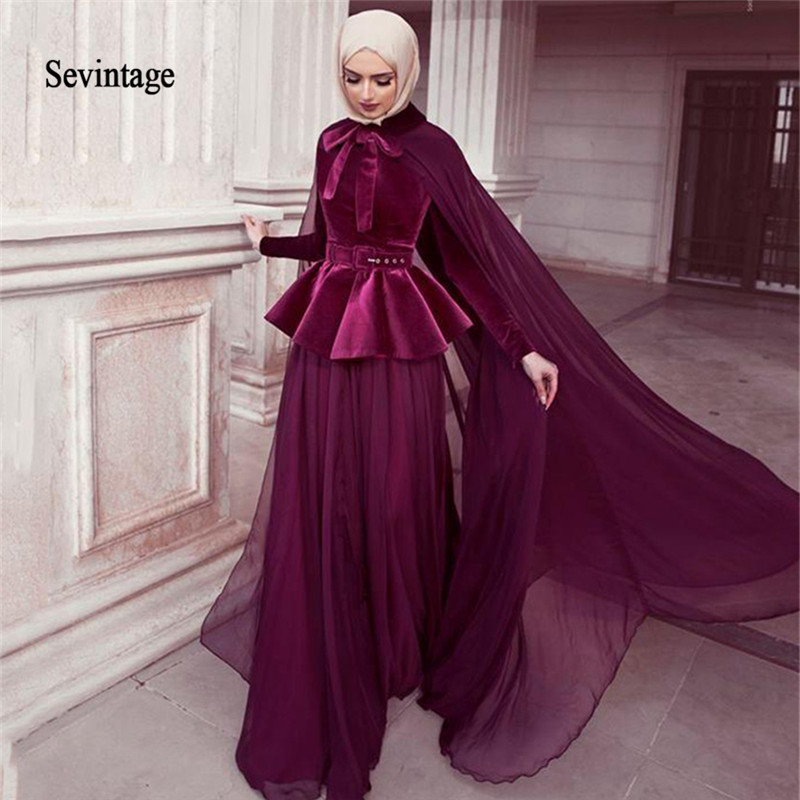 Sevintage 2020 Muslim Mermaid Prom Dresses with Cape Chiffon Velvet Long Sleeves Evening Gowns Dubai  Arabic Formal Party Gowns