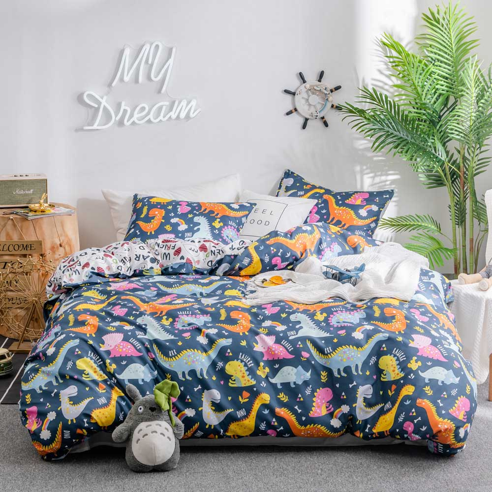 Dinosaur Cartoon Kids Bedding Comforter Bedding Sets Double Sided Children's Quilt Cover Bed Sheet Pillowcase Queen Twin Size
