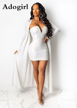 Adogirl Sexy Women 2 Piece Dress Autumn X-Long Open Stitch and Strapless Stripes Print Plunging v-neck Bodycon Mini Dress plunging neck lace splicing dress