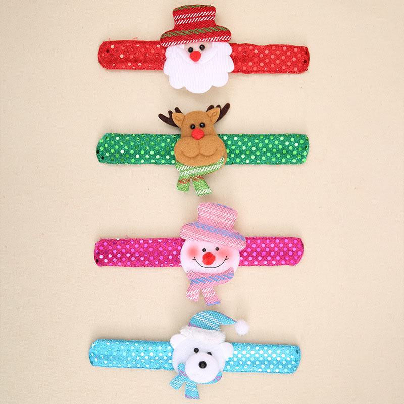 6PCS Christmas Patting Circle Bracelet For Xmas Children Gift Santa Claus Snowman Deer Toy Decor New Year Party Wrist Decoration in Party DIY Decorations from Home Garden