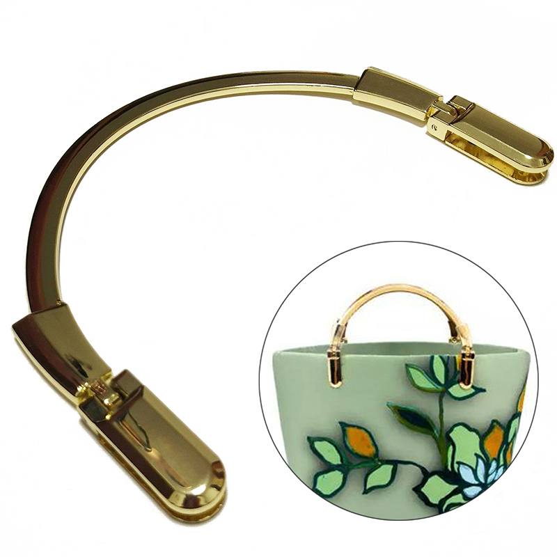 1Pcs FashionGold Semicircle Metal Purse Frame Making Handbag  Crossbody Bag Handle Replacement DIY Crafts Bag Part Accessories