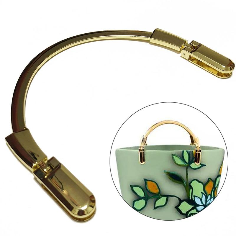 1Pcs FashionGold Semicircle Metal Purse Frame Making Handbag  Crossbody Bag Handle Replacement DIY Crafts Bag Part Accessories