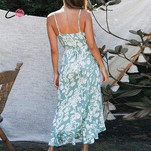 Image 4 - Conmoto lato wzburzyć plaża długie sukienki w stylu casual kobiety sexy spaghetti pasek sukienka damska kwiatowy, bez pleców plus rozmiar sukienka vestidos