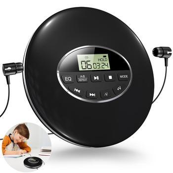 Estilo Redondo Reproductor de CD portátil, auriculares HiFi, Reproductor de música CD, Walkman, Discman Player, a prueba de golpes, CD, con Cable auxiliar