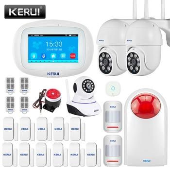 KERUI Home Alarm K52 WiFi GSM Alarm Systems Security Home 4.3 inch Full Touch Screen Panel Motion Dectetor Door Sensor IP camera 1
