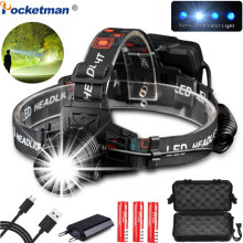 Powerful USB Rechargeable XHP50 Headlamp XPE+COB Headlight high powerful xhp70 head lamp torch ZOOM Head light Best for Camping(China)
