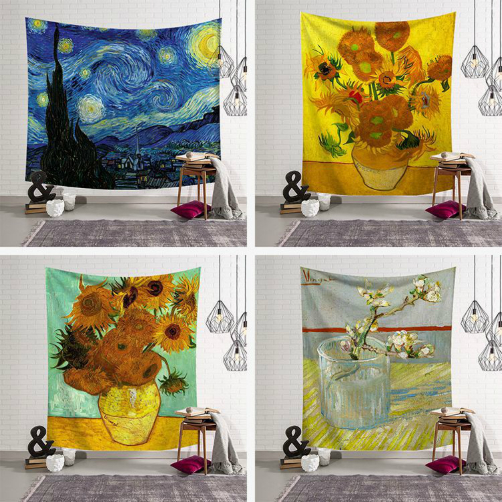 Fashion Sunflower Wall Hanging Van Gogh Oil Painting Printed Wall Cloth Tapestries Throw Rug Blanket Carpet Yoga Mat Home Decor