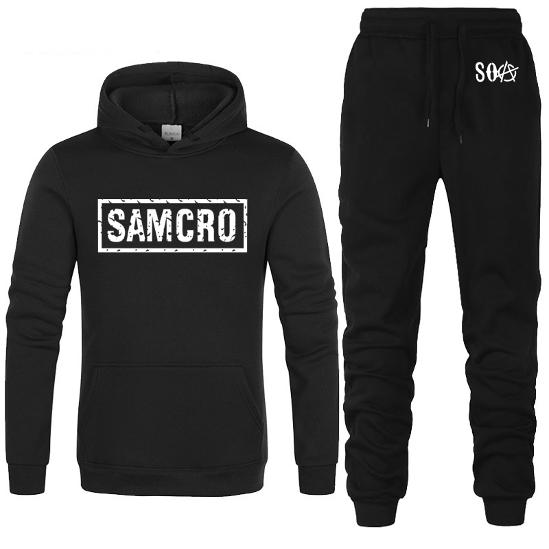 SOA Sons Of Anarchy The Child SAMCRO Printed Fashion Hoodies Men Fleece Warm Sweatshirt Hip Hop Mens Hoodies Pants Suit 2Pcs
