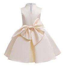 NEW kids girl dress Bow Sleeveless girls festive Wedding presiding Stage performance party