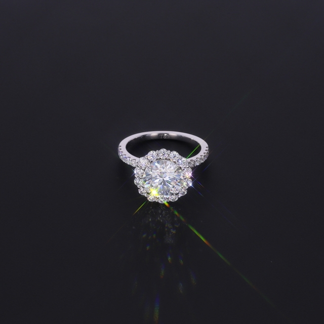 Starsgem 14K جودة عالية رومانسية VVS موضة DEF مويسانيتي خاتم الخطوبة اختبار إيجابي مويسانيتي خاتم الزواج للنساء