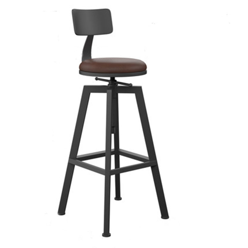 Modern Bar Chair Iron High-Footed Stool Solid Wooden Bar Stool Circular Rotation Lifting Simple Bar Stool