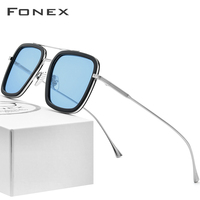 FONEX Pure Titanium Acetate Polarized Sunglass Men Tony Stark Sunglasses 2019 New Iron Spider Edith Sun Glasses for Women 8512
