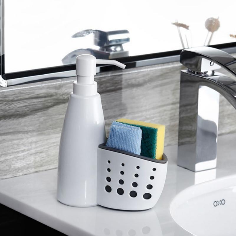 2 in 1 Multifunction Liquid Dispenser Home ผงซักฟอกกล่องเก็บฟองน้ำท่อระบายน้ำคอนเทนเนอร์ Drainboard จานสบู่ Organizer ใหม่