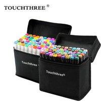 Touchthree 36/48/60/80/168 cores marcadores conjunto mangá desenho marcadores álcool baseado esboço feltro-ponta escova caneta arte suprimentos