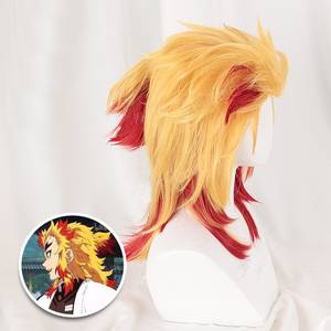 Image 2 - Demon Slayer Kimetsu ไม่มี Yaiba Rengoku Kyoujurou Wigs อะนิเมะคอสเพลย์เครื่องแต่งกายผสมวิกผม