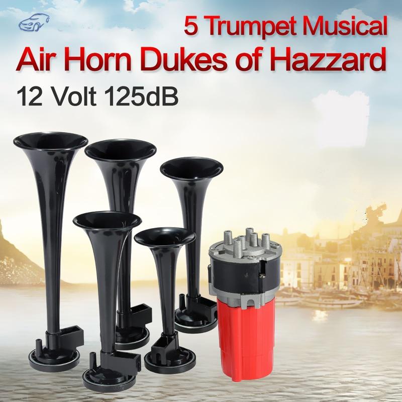 5x Gümüş / Qara / Qırmızı Trumpet Musical DIXIE Motosiklet Nəqliyyat vasitələri üçün Hazar Kompressoru 12V Yüklü Van Boat Hava Buynuzu Dəsti