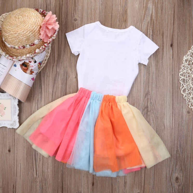 US Toddler Baby Girls Birthday Outfit Party Rainbow Lace Skirt Tutu Dress Sets