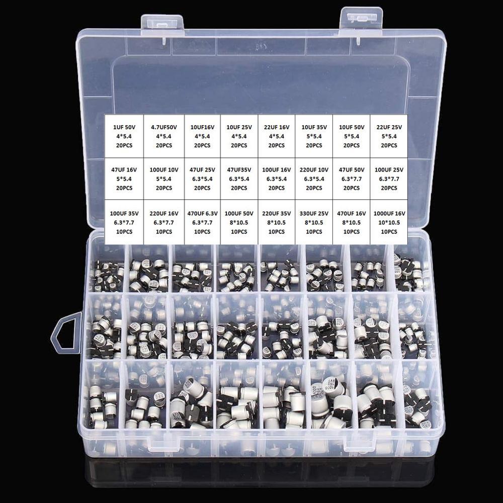 Capacitores eletrolíticos de alumínio, 1 uf ~ 1000 uf 6.3 v-50 v 400 peças 24 valor smd + caixa