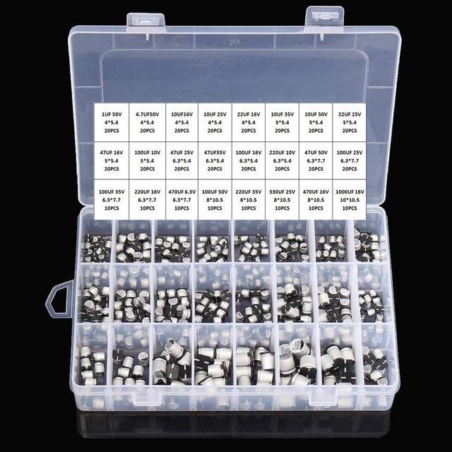 Capacitores eletrolíticos de alumínio, 1uf ~ 1000uf 6.3v 50v 400 peças 24 valor smd + caixa
