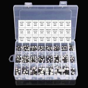 Image 1 - Kit surtido de condensadores electrolíticos de aluminio, 1uF 1000uF, 6,3 V 50V, 400 uds, 24 valores SMD, Incluye caja