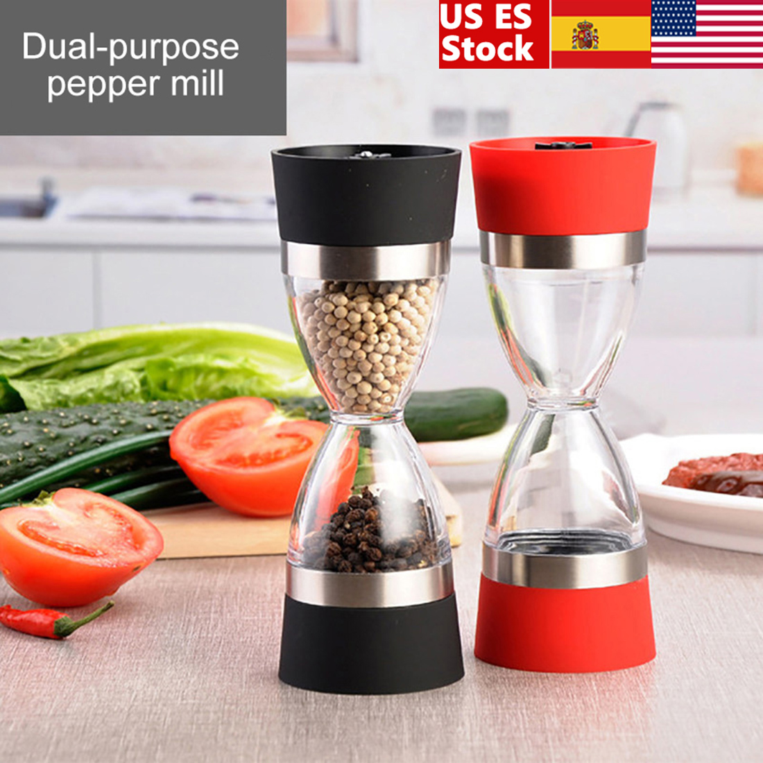 Dual-purpose Pepper Mill Hourglass Shape Dual Salt Pepper Mill Spice Grinder Pepper Shaker For Kitchen Cooking Tools(China)