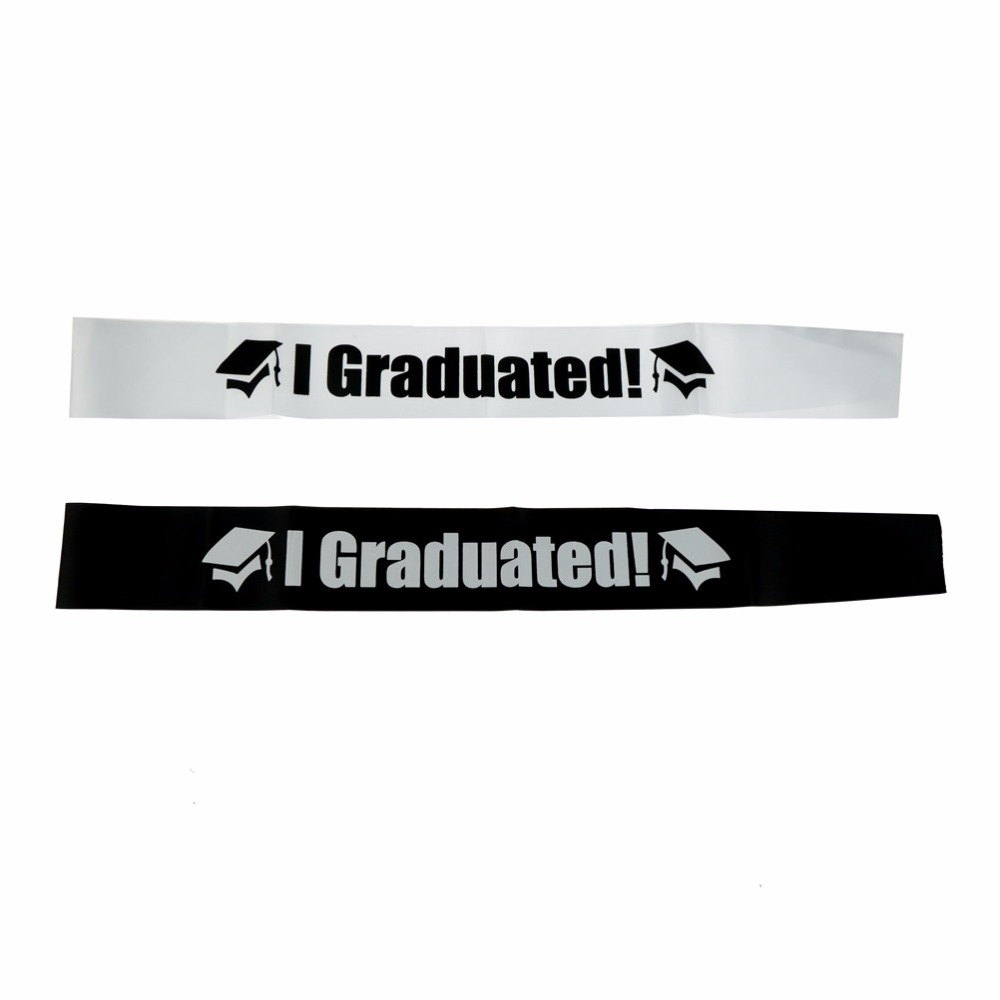 1PC I Graduated Satin Sash Single Sided Graduate High School Celebration Party Photo Booth Props Party Supplies Gift Black White