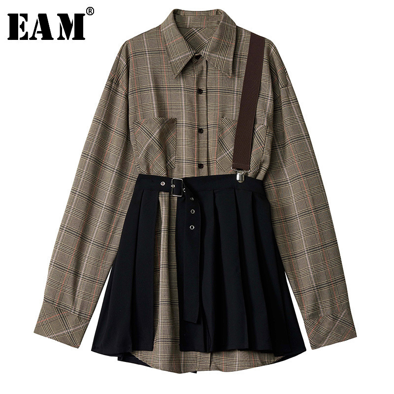 [EAM] Women Plaid Pleated Split Two Piece Shirt Dress New Lapel Long Sleeve Loose Fit Fashion Tide Spring Autumn 2020 1D7110