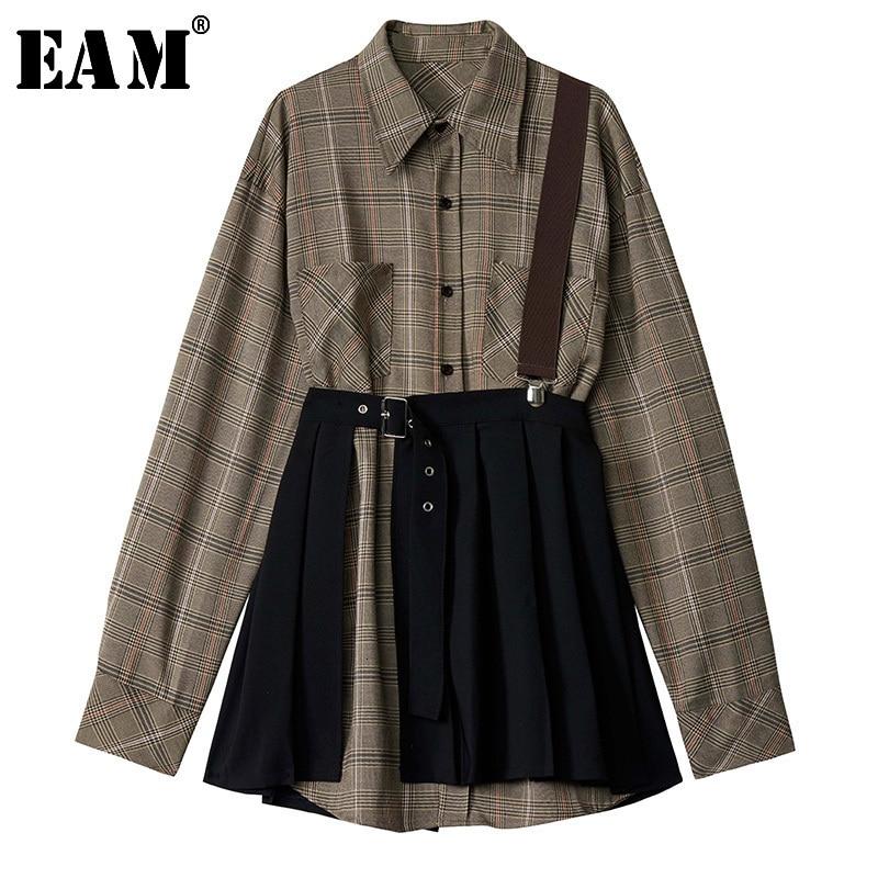 [EAM] Women Plaid Pleated Split Two Piece Shirt Dress New Lapel Long Sleeve Loose Fit Fashion Tide Spring Autumn 2020 1D7110