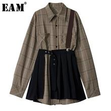 [EAM] Vestido camisero plisado a cuadros para mujer, dos piezas, con solapa nueva, manga larga, corte holgado, moda de primavera y otoño 2020, 1D7110