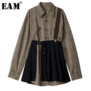Image 1 - [EAM] Women Plaid Pleated Split Two Piece Shirt Dress New Lapel Long Sleeve Loose Fit Fashion Tide Spring Autumn 2020 1D7110