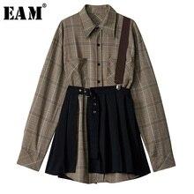 [EAM] נשים משובץ קפלים פיצול שתי חתיכה חולצה שמלת חדש דש ארוך שרוול Loose Fit אופנה גאות באביב סתיו 2020 1D7110