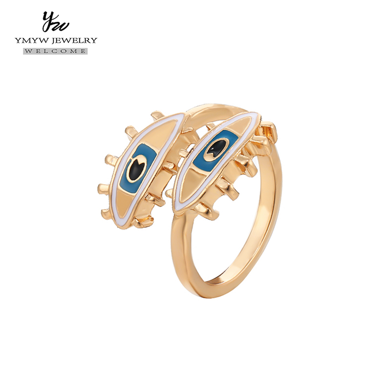 YMYW Golden Fashion Evil Eye Rings Classic Vintage Open Finger Resizable Unique Desige Charm Women Party Jewellery Gift 2018