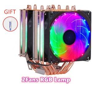 Image 2 - 6 Heatpipes RGB CPU Tản Nhiệt Làm Mát 3PIN 4PIN 2 Quạt Intel 1150 1155 1156 1366 2011 X79 X99 AM2/AM3/AM4 Tích Hợp