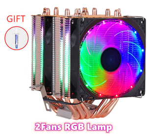 Image 2 - 6 Heatpipes RVB REFROIDISSEUR DE PROCESSEUR Radiateur Refroidissement 3PIN 4PIN 2 ventilateur Pour Intel 1150 1155 1156 1366 2011 X79 X99 AM2/AM3/AM4 Ventilador