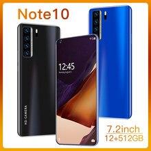 Küresel sürüm not 10 5G Smartphone 12GB 512GB 7.2 inç MTK 6899 Deca çekirdek 4g ağ mobil Android telefonları celulares cep telefonu