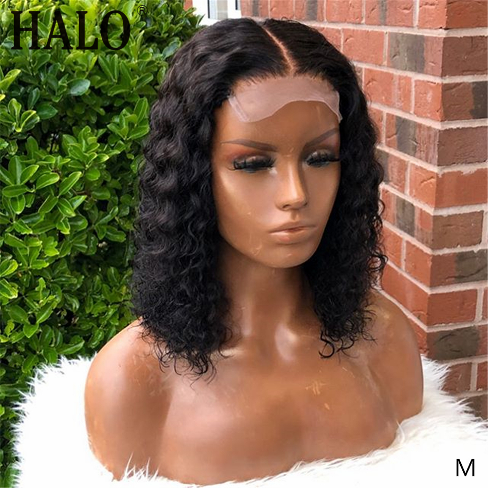 HALO 4x4 кудрявый парик на шнурке, предварительно выщипанные человеческие волосы на фронте, парики для черных женщин, короткий боб парик 150% Remy с...