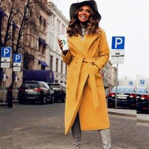 Image 3 - MVGIRLRU/женские пальто из шерсти и смески; Женские парки с карманами; Куртки с поясом; Цвет коричневый, кофейный, черный, розовый; Верхняя одежда