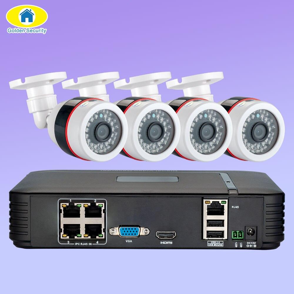 Sécurité dorée Full HD 1080P 4CH NVR système de vidéosurveillance 4 pièces 2MP FHD caméra IP extérieure 4CH 1080P PoE Kit de caméra de sécurité HDMI VGA P2P