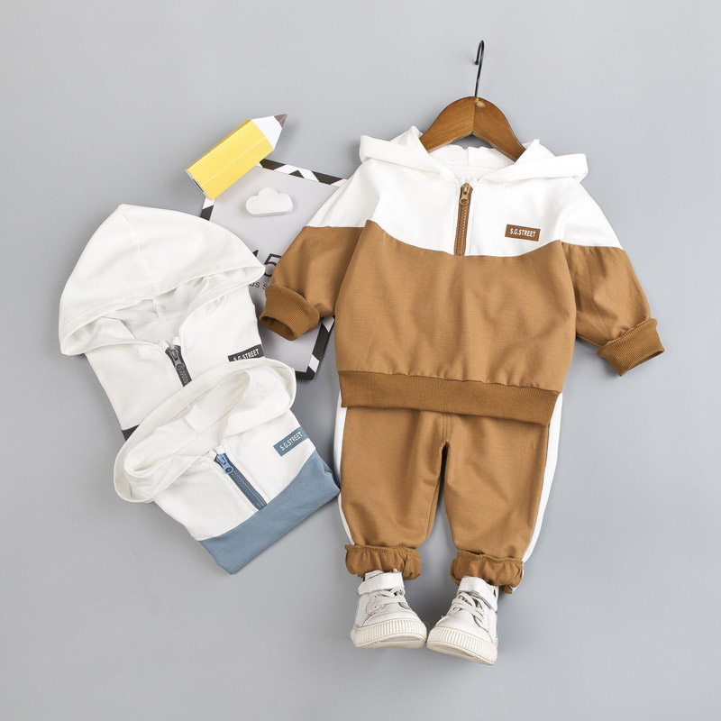 Menoea Toddler Boys Clothing Set Autumn Children Girls Sports Hooded Clothes Sets Baby Boy Splice Shirts Pants Clothes Suits