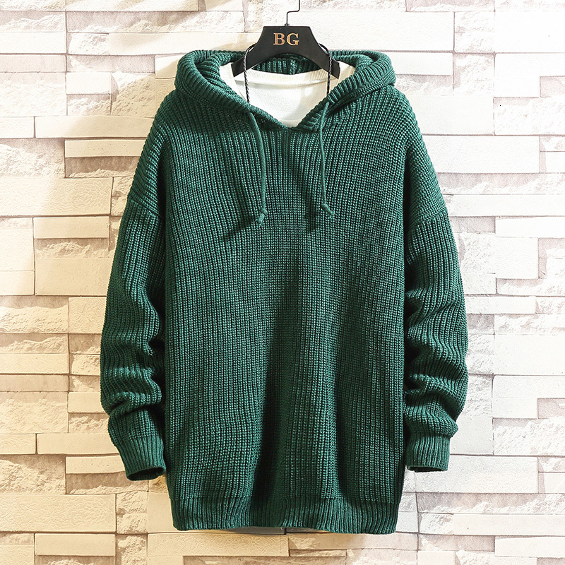 Hooded Sweater Men's Warm Fashion Solid Color Casual Knit Pullover Man Wild Loose Long-sleeved Sweater Male Large Size M-5XL