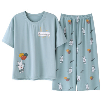 2020new Summer cotton pajamas set women sweet cartoon short-sleeve T-shirt+cropped trousers two-piece suit fashion home clothing - discount item  48% OFF Women's Sleep & Lounge