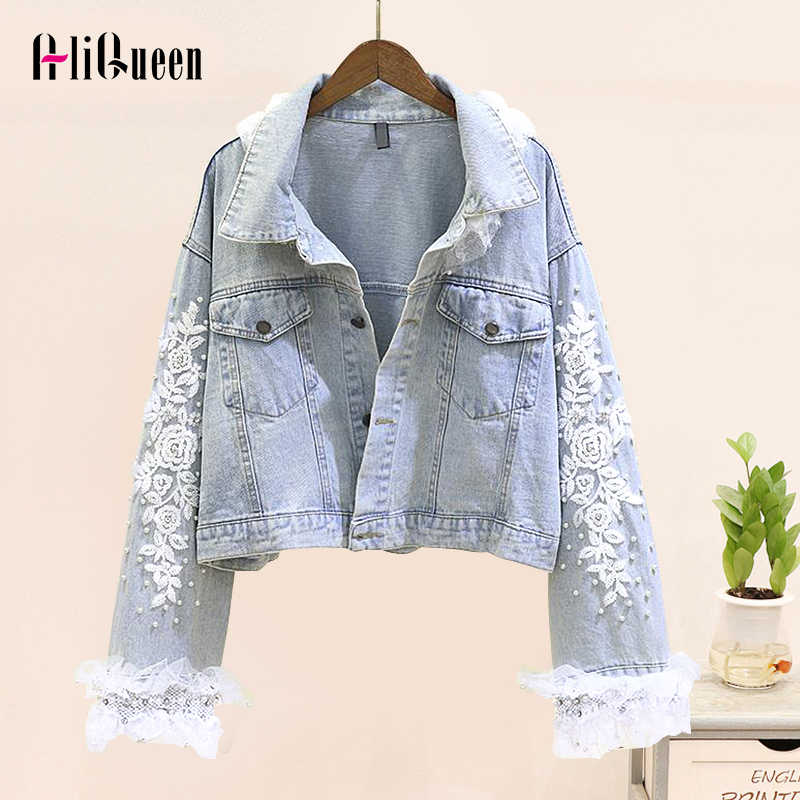 Vrouwen Zoete Mesh Patchwork Diamant Parels Denim Jacket Womens Jassen Streetwear Borduurwerk Losse Cropped Jean Jas