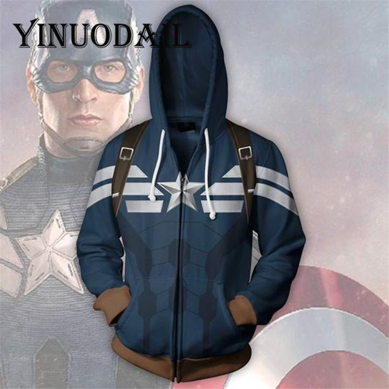 Fans Wear Captain America Hoodies Mens Zip Up Hoodie Womens Jackets And Sweatshirt