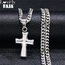 Collier de style Punk Hip Hop en acier inoxydable, chaîne de déclaration pour femmes/hommes, bijoux de couleur argent avec croix, NK68S03, 2021